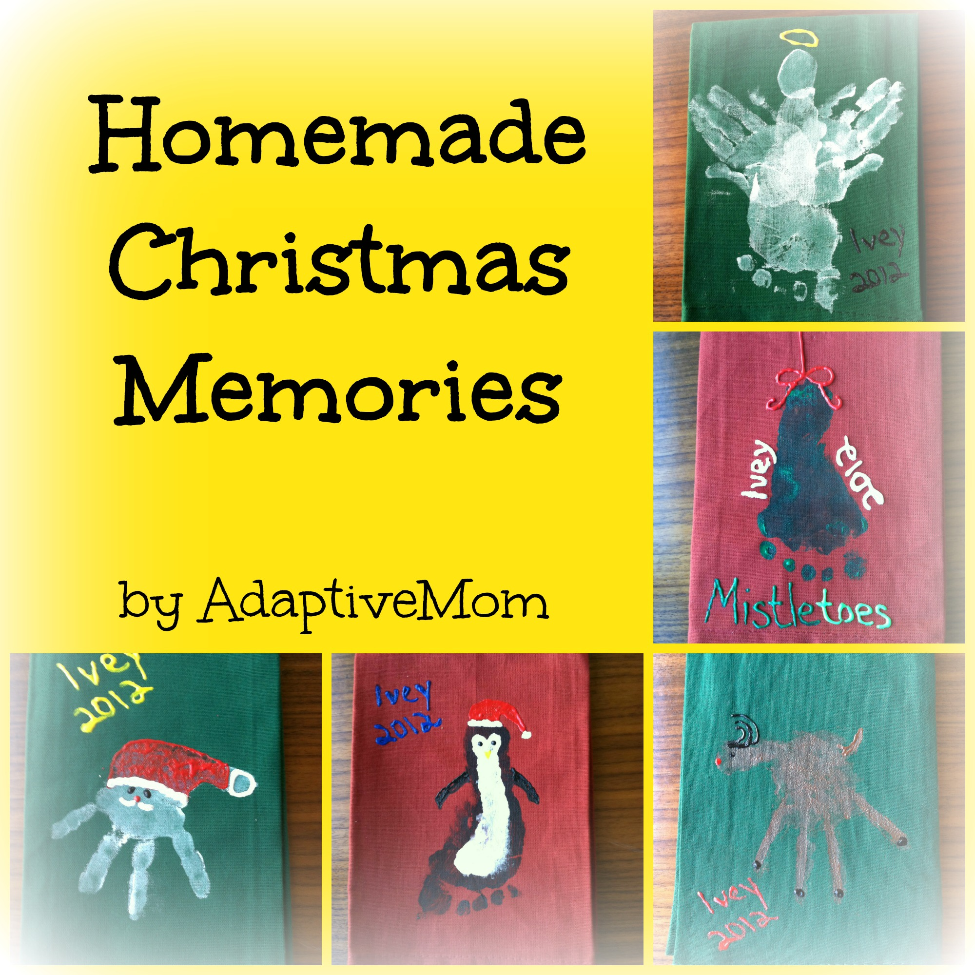 Homemade Christmas Memories Adaptive Mom Dish Towels